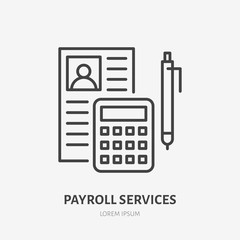 Payroll with consultator flat line icon. Personnel accounting sign. Thin linear logo for legal financial services, accountancy.