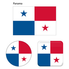 Flag of Panama. Correct proportions, elements, colors. Set of icons, square, button. Vector illustration on white background.