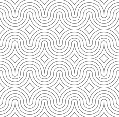 Gray and white seamless wave pattern. Linear design. Vector illustration.