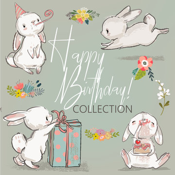 cute birthday hares collection