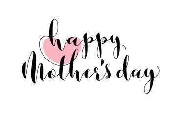 Greeting card with pink heart and Happy Mothers Day lettering isolated on a white background