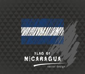 Flag of Nicaragua, vector pen illustration on black background