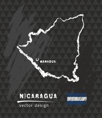 Map of Nicaragua, Chalk sketch vector illustration