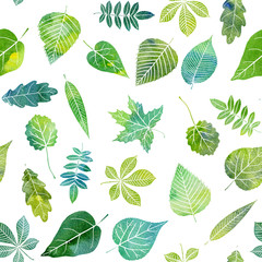 watercolor seamless pattern with tree leaves