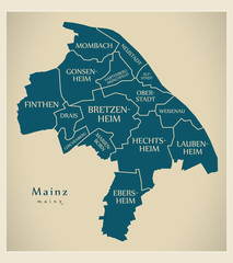 Modern City Map - Mainz city of Germany with boroughs and titles DE