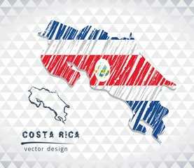 Map of Costa Rica with hand drawn sketch pen map inside. Vector illustration