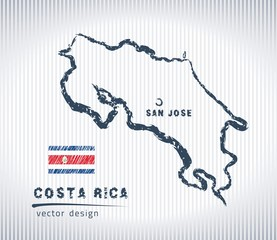 Costa Rica vector chalk drawing map isolated on a white background