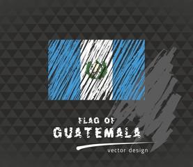 Flag of Guatemala, vector pen illustration on black background