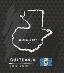 Map of Guatemala, Chalk sketch vector illustration