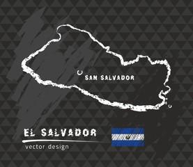 El Salvador map, vector pen drawing on black background