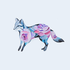 Sketch of a fox in flowers on a white background.