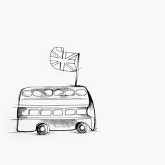 Sketch of English bus on white background.