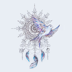 Sketch of a bird with a dreamcatcher on a white background.