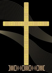 Simply gold funereal decoration with filigree decorated crucifix and wavy light elements on black background, burial decoration in classical style