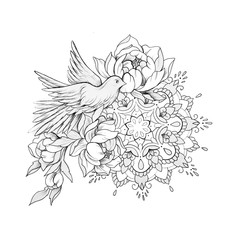 Sketch of a bird in flowers with a mandala on a white background.
