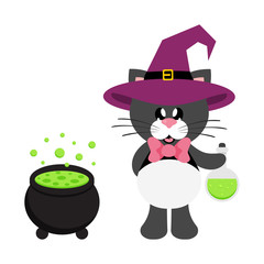 cartoon cute cat black with tie in witch hat with magic potion and cauldron