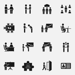 Set of business meeting vector icons.