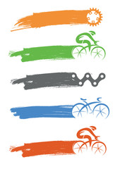 Cyclists and cycling components icons with brush stroke. Illustration of cycling icons with expressive brush stroke as place for your text. Vector available.