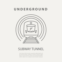 Vector subway tunnel icon or badge. Graphic design elements in outline style for packaging, apps, website, advertising, poster and brochure for underground.