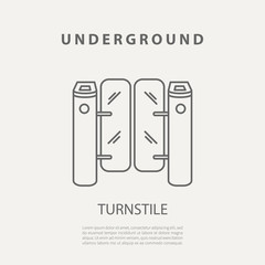 Vector subway turnstile icon or badge. Graphic design elements in outline style for packaging, apps, website, advertising, poster and brochure for underground.