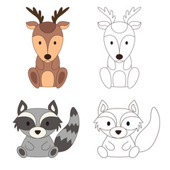 Coloring page with animal. Wild deer and raccoon in color and outline. Vector illustration
