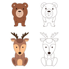 Coloring page with animal. Wild deer and bear in color and outline. Vector illustration