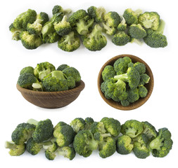Broccoli with copy space for text. Broccoli isolated on a white background. Broccoli on white background. Top view. Set of fresh broccoli.