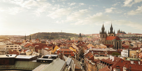 Aerial, panoramic view of Prague old town at the sunset