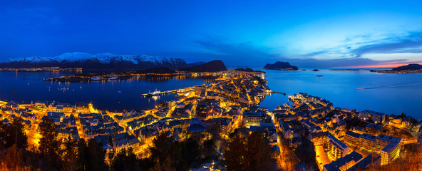 Panorama of Alesund town at night, Norway