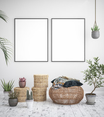 Mock up poster frame interior background, scandinavian style, 3D render