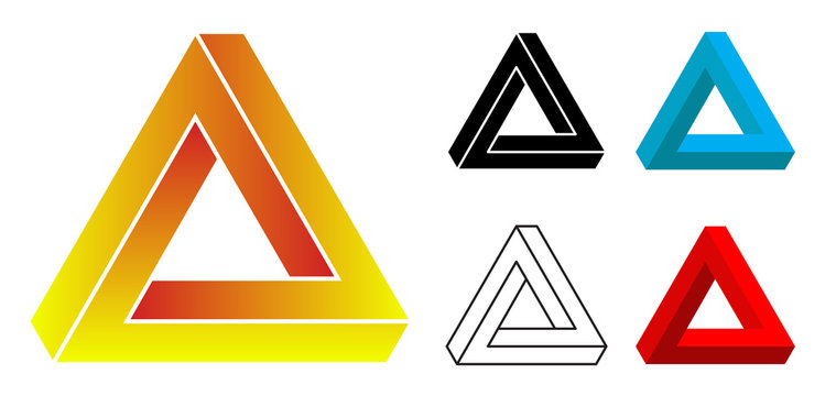 Vector Penrose triangles with editable stroke and fill on white background