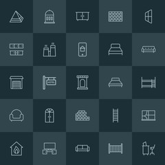 Modern Simple Set of buildings, furniture Vector outline Icons. ..Contains such Icons as  interior,  travel,  couch,  small,  smoke, pattern and more on dark background. Fully Editable. Pixel Perfect.