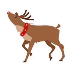 Christmas Realistic Deer Isolated on White Vector