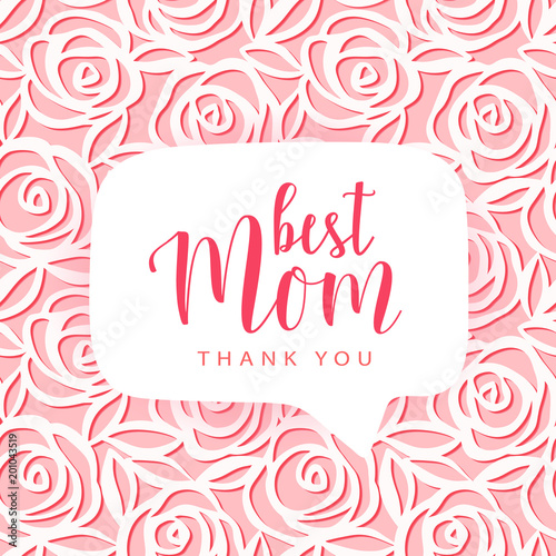 Mother's day card  Best Mom, thank you text  Vector hand drawn