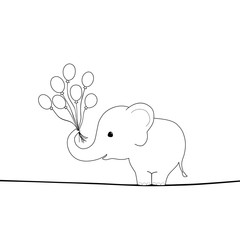 Cute elephant with balloons on a wire