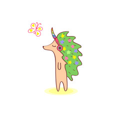 Girl hedgehog with flowers on the skin walking and listening to music in pink headphones. Close his eyes