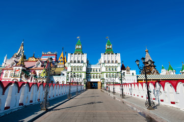 The Izmailovsky Kremlin and museum complex from the bridge in Moscow, Russia.