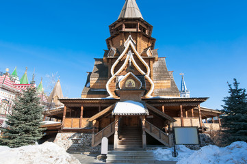 Church of St. Nicholas, the highest wooden temple of Russia in Izmailovo Kremlin, Moscow.