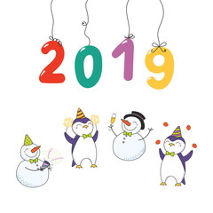Hand drawn Happy New Year 2019 card with numbers hanging on strings, cute funny cartoon penguins, snowmen celebrating. Isolated objects on white background. Vector illustration. Design concept party.