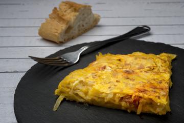 Homemade potato omelet with chorizo - Spanish traditional dish