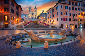 Stores photo Rome Rome. Cityscape image of Spanish Steps in Rome, Italy during sunrise.
