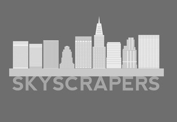 Skyscrapers Simple Cartoon Picture for Design