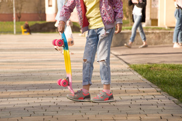 child with skateboard. hobby. sport.