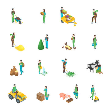 Farmers at Work 3d Icons Set Isometric View. Vector