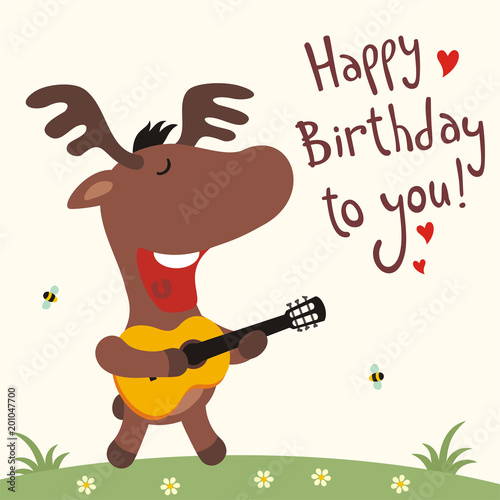Birthday Card With Cartoon Deer Funny Guitar Sings Song Happy To You