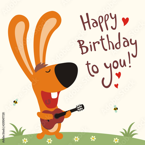 Birthday Card With Cartoon Rabbit Funny Guitar Sings Song Happy To You