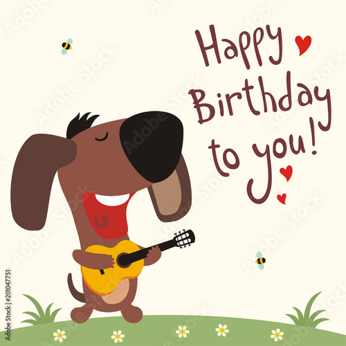 Birthday Card With Cartoon Puppy Dog Funny Guitar Sings Song Happy To You