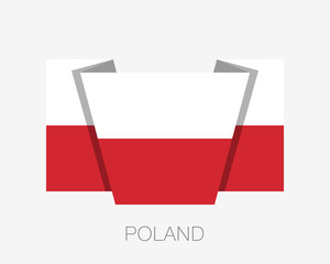 Flag of Poland. Flat Icon Waving Flag with Country Name