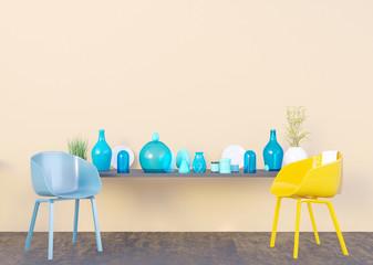 mock up poster frame in summer concept interior background, 3D illustration, render.