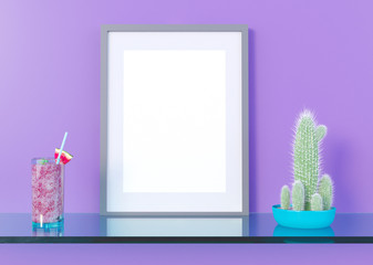 mock up poster frame in summer concept interior background, 3D illustration, render.